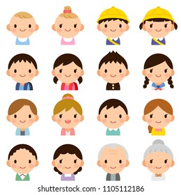 Isolated set of people all generation family man & woman flat style avatar expressions