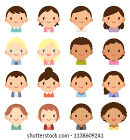 Isolated set of people all over the world man & woman flat avatar