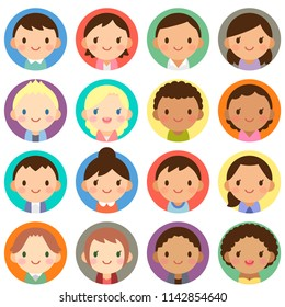 Isolated set of people all over the world man & woman flat circle avatar