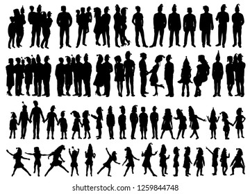 isolated, set of people and children silhouettes, new year, christmas