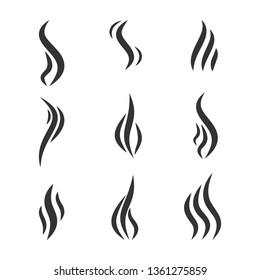 Isolated set of smoke vector icon. Smoke, steam, aroma. Vector illustration.