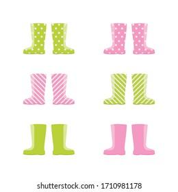 Isolated set of spring autumn wellington rain boots on white background. Vector Illustration