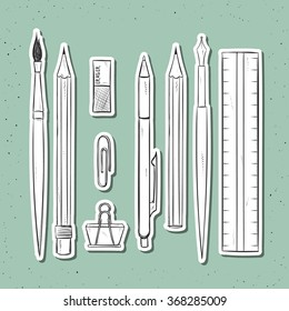 Isolated set of stationery handmade in sketch style. Sketch of writing items. Writing items for design cards and posters, collage and presentations, web design, background. Retro design. Vintage style