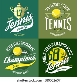 Isolated set of tennis icons with ball and trophy or cup, net on court or field and rack or racquet. T-shirt print or emblem, cloth branding or sport league advertising.Competition, sport league theme