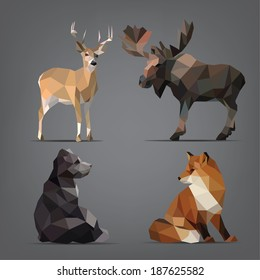 Isolated set of wild animals in the geometric style