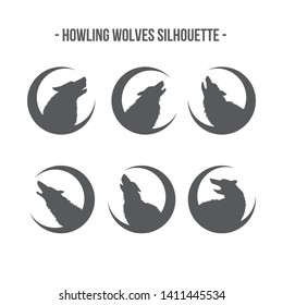 isolated Set of wolf vector logo moon silhouette