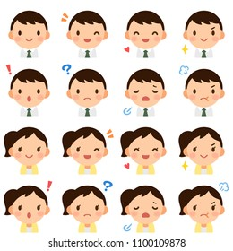 Isolated set of young business man & woman flat style avatar expressions