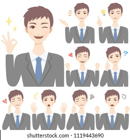 Isolated set of young man flat style avatar expressions