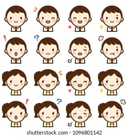 Isolated set of young man & woman avatar expressions