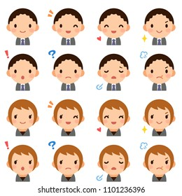 Isolated set of young man & woman flat style avatar expressions