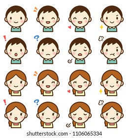 Isolated set of young married couple man & woman avatar expressions
