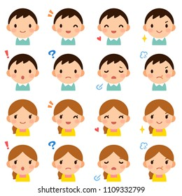 Isolated set of young married couple man & woman flat avatar expressions