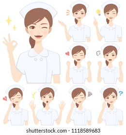 Isolated set of young nurse flat style avatar expressions