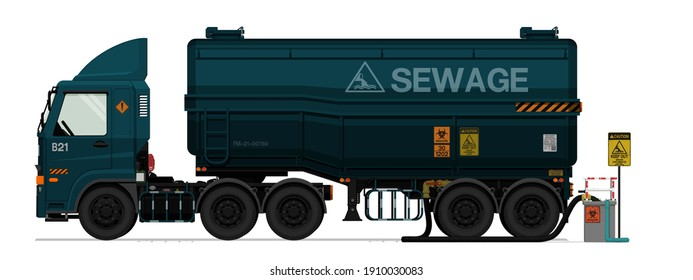 Isolated sewage semi trailer truck with pond on white background