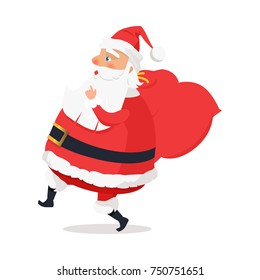 Isolated side view Santa Claus on white background. Vector illustration of moving man in age worn in red warm coat trousers, soft hat, black boots wide belt. Big sack with presents hangs on shoulder