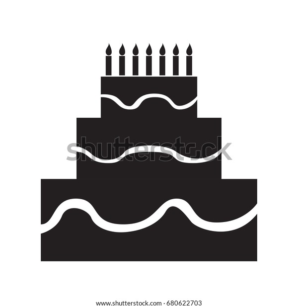 Isolated silhouette of a birthday cake, Vector illustration