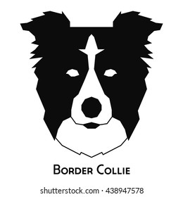Isolated silhouette of a border collie on a white background