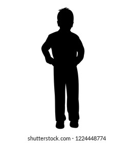 isolated silhouette child boy standing
