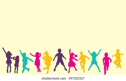 isolated, silhouette children jumping, multicolored silhouettes, childhood