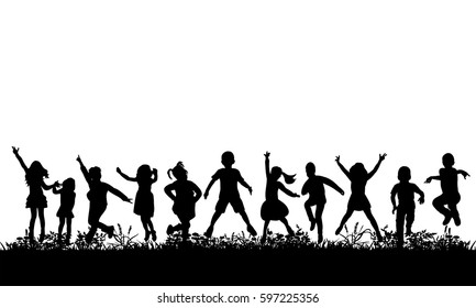 isolated, silhouette of children jumping on the grass