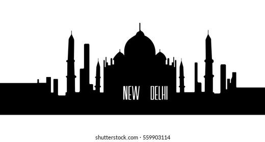 Isolated silhouette cityscape of New Delhi, Vector illustration