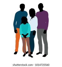 isolated silhouette in colored family clothes