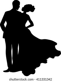 Isolated Silhouette Couple - Vector Illustration