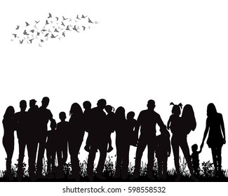 isolated, silhouette of a crowd of people