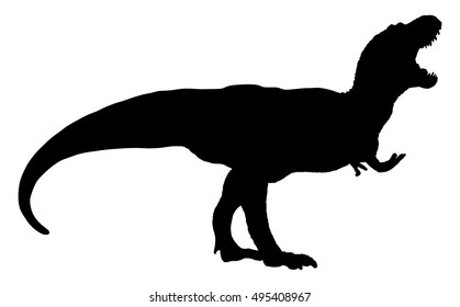 Isolated silhouette of dinosaur on white background. Silhouette illustration of a tyrannosaurus rex. T rex silhouette.
