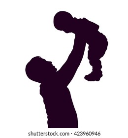 Isolated Silhouette drawing parent and child.
