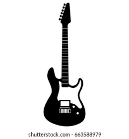 Isolated silhouette of an electric guitar, Vector illustration