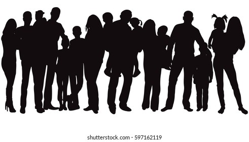 isolated, silhouette family, crowd of people with children