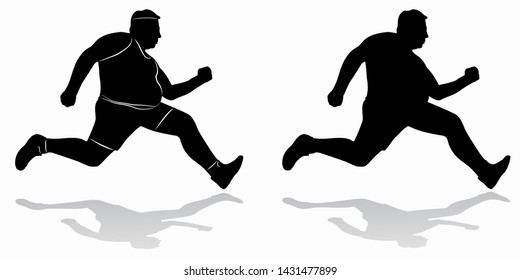 isolated silhouette of fat man runner , black and white drawing, white background
