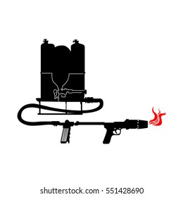 Isolated silhouette of a flamethrower, Vector illustration