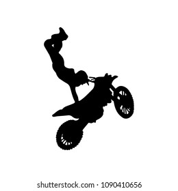 Isolated silhouette of freestyle motocross trick. vector illustration.