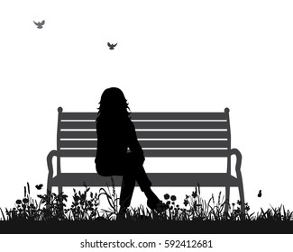 isolated silhouette of a girl sitting on a bench in the Park