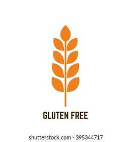 Isolated silhouette of gluten and text for gluten free products