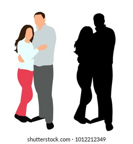 isolated silhouette guy and girl hugs, set