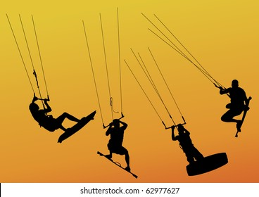 isolated silhouette of kite surfers riding and jumping