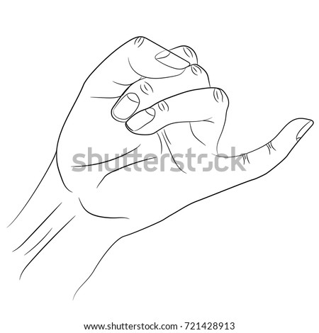 Isolated Silhouette Little Finger Human Hand Stock Vector (Royalty ...