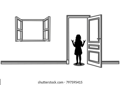 isolated silhouette little girl