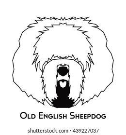 Isolated silhouette of an Old English Sheepdog on a white background