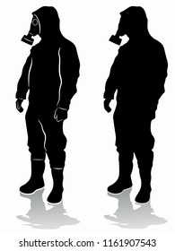 isolated silhouette of a person in a chemical suit, black and white drawing, white background