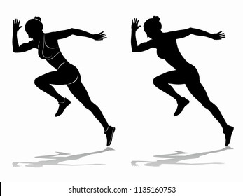 isolated silhouette of runner , black and white drawing, white background