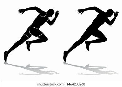 isolated silhouette of a running man, black and white vector drawing, white background