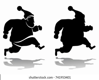 isolated silhouette of a running santa claus, black and white drawing, white background