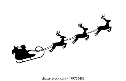Isolated silhouette of Santa's sledge, black on white