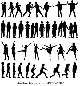 isolated, silhouette set kids, people, dance