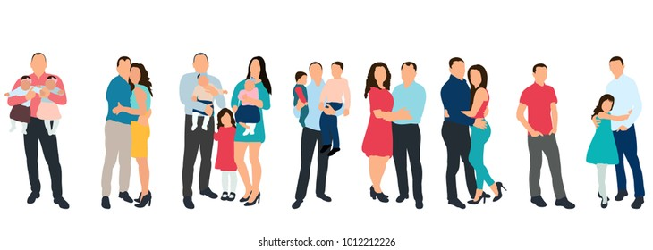 isolated silhouette set of people, family on white background