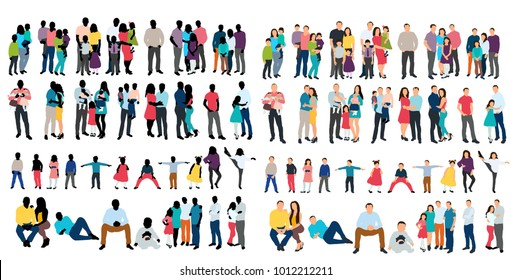 isolated silhouette set of people on white background